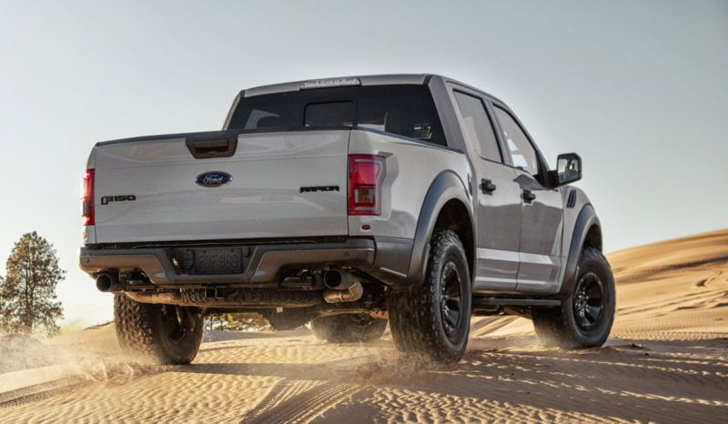 The all-new Ford F-150 Raptor (SuperCrew model pictured) boasts its first-ever true dual exhaust and new 17-inch wheels with next-generation BFGoodrich All-Terrain KO2 tires designed for off-road performance.