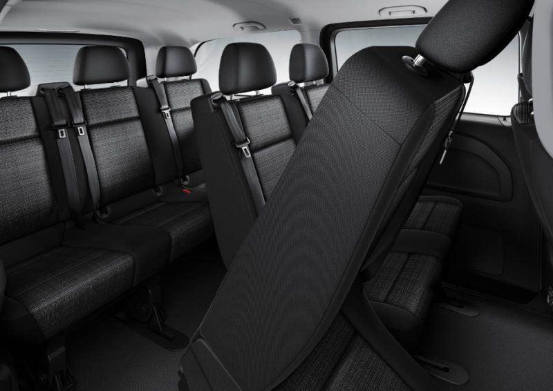 Der neue Vito – Tourer PRO, Interieur, 3-er Sitzbank mit klappbarem äußeren Sitz The New Vito – Tourer PRO, Interior, 3-seater bench with folding outer seat
